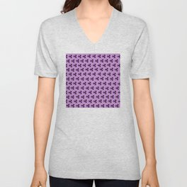 Lavender Purple Flower Pattern Unisex V-Neck