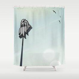 Cthulhu Goon seaside sign Shower Curtain