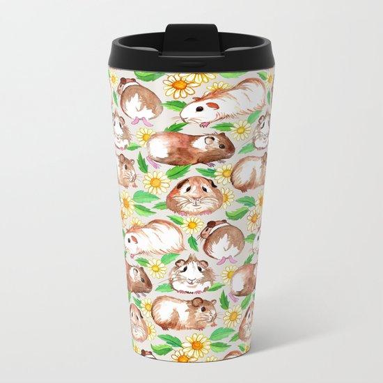 Guinea Pigs and Daisies in Watercolor Metal Travel Mug