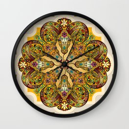 Mandala Sacred Rams - Bright Version Wall Clock