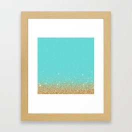Sparkling gold glitter confetti on aqua teal damask background Framed Art Print