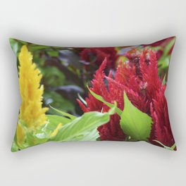 red , yellow, and pink flowers planted in the flower bed Rectangular Pillow
