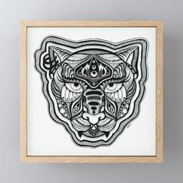 Blackwork Queen Cat Face Framed Mini Art Print