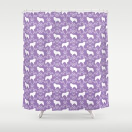 Great Pyrenees dog breed silhouette floral dog pattern unique pet gifts Shower Curtain