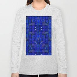Deep Calm Blue Oriental Berber Traditional Moroccan Texture Design  Long Sleeve T-shirt