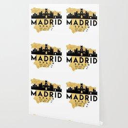 MADRID SPAIN SILHOUETTE SKYLINE MAP ART Wallpaper