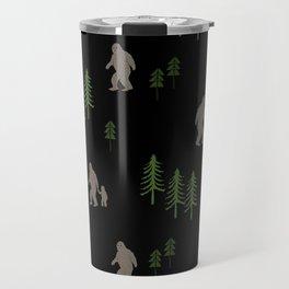Sasquatch forest woodland mythic animal nature pattern cute kids design forest Travel Mug