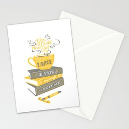 Tea & Books (C.S Lewis) - gray/yellow Stationery Cards