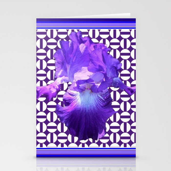 Decorative  purple Iris Optical Pattern Art Stationery Cards