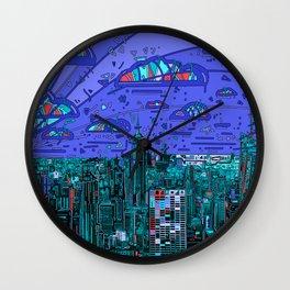 new york city panorama blue Wall Clock