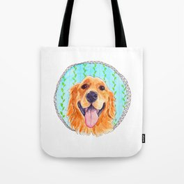 You're Never Fully Dressed without a Smile, Golden Retriever, Whimsical Watercolor Painting, White Tote Bag
