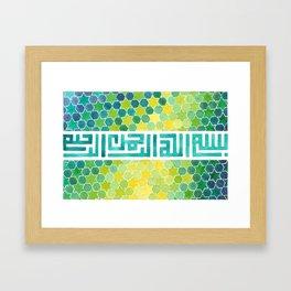 Stars and hexagons Basmallah, kufic calligraphy Framed Art Print
