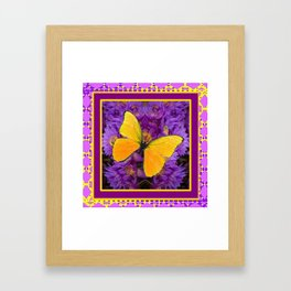 DECORATIVE LILAC-YELLOW FRAMED BUTTERFLY Framed Art Print
