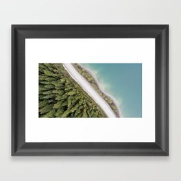 Aerial Mountain Lake Road Framed Art Print