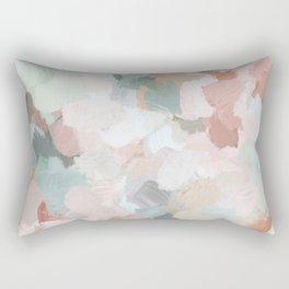 Blush Pink Mint Green Blue Coral Peach Abstract Flower Wall Art Springtime Painting Modern Wall Art Rectangular Pillow