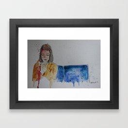 Margot lighting up Framed Art Print