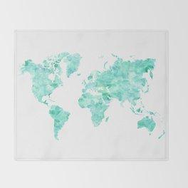 Teal aquamarine watercolor world map Throw Blanket