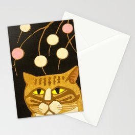 Japanese Cat Cubism Woodblock Print Cherry Blossom Midcentury Modern Stationery Cards