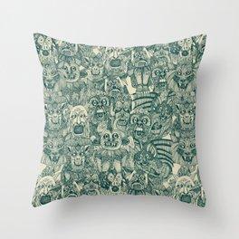 gargoyles teal Throw Pillow