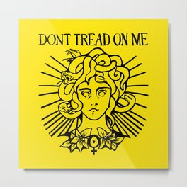 Medusa: Don't Tread On Me (Yellow) Metal Print