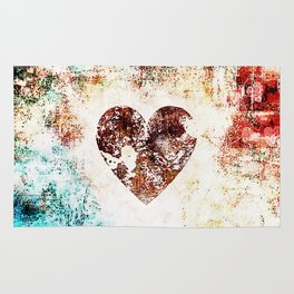 Vintage Heart Abstract Design Rug