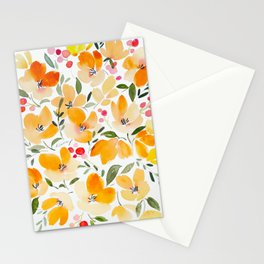 Yellow and Orange Floral Stationery Cards