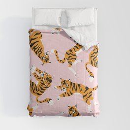 Cute tiger in the tropical forest hand drawn on pink background illustration Comforters