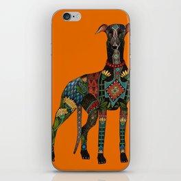greyhound orange iPhone Skin