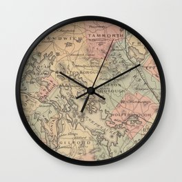 Vintage Map of The NH Lakes Region (1890) Wall Clock