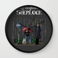 johnlock Wall Clocks featuring My neighbor Sherlock by AcidBurn