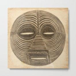 African Luba Mask Metal Print