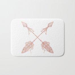 Tribal Arrows Rose Gold on White Bath Mat