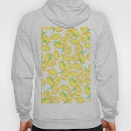 Sunshine yellow orange blue watercolor lemon fruit pattern Hoody