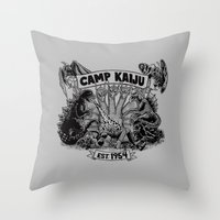 kaiju Throw Pillows featuring Camp Kaiju by Austin James