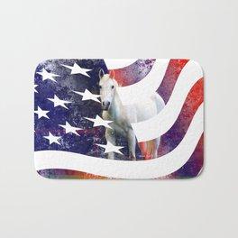 White Horse And American Flag By Annie Zeno Bath Mat