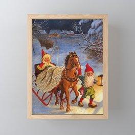 """Sled Ride at Night"" by Jenny Nystrom Framed Mini Art Print"