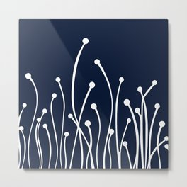 Floral Crisp Modern Navy White Metal Print