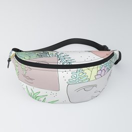 Planter Faces + Dots in Garden Green Fanny Pack