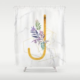 Modern glamorous personalized gold initial letter J, Custom initial name monogram gold alphabet prin Shower Curtain