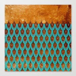 Copper Metal Foil and Aqua Mermaid Scales- Abstract glitter pattern Canvas Print