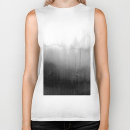 Modern Black and White Watercolor Gradient Biker Tank