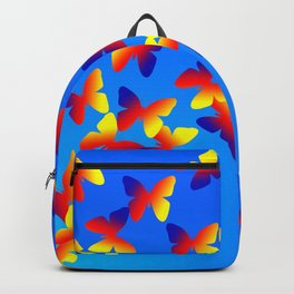 Bright Butterfly Fountain on Blue Backpack