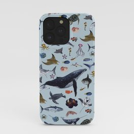 SEA CREATURES poster with names iPhone Case