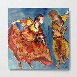 Watercolor Folklore dance Carimbo - joy and fun Metal Print