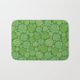 Big and small monstera green leaves Bath Mat