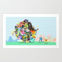 katamari Art Prints featuring Adventure Time - Land of Ooo Katamari by Sin nombre