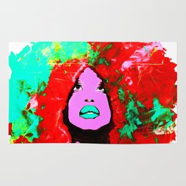 Afro Funk Girl colors red turquoise pink Rug