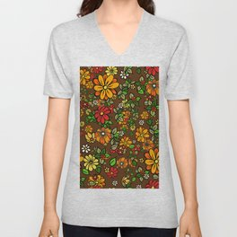 70s Flowers retro vintage ditzy orange and brown pattern Unisex V-Neck
