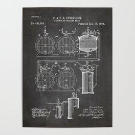 Brewery Patent - Beer Art - Black Chalkboard Poster