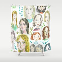 Faces of girls with different moods Shower Curtain